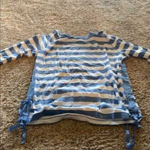 Blue and white striped Ralph Lauren 3/4 sleeve